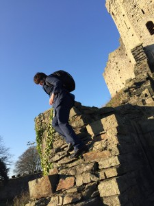 Alex having a climb in Cardiff Castle after attending a meeting at the Senedd  to launch a campaign for an Autism Act in Wales.